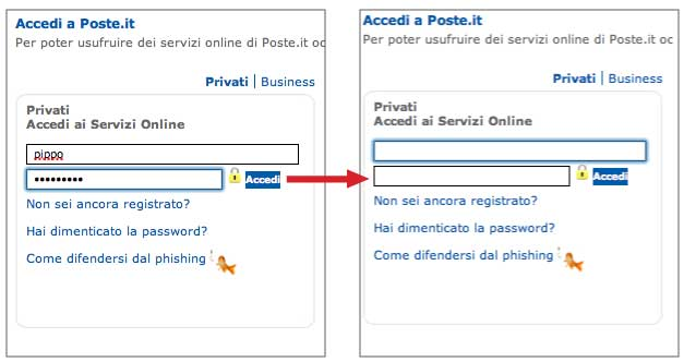 Poste Italiane - login errato