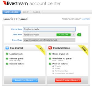 Il processo di creazione di un canale su LiveStream