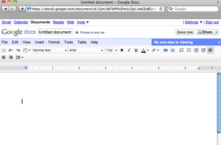 Un documento aperto in Google Docs
