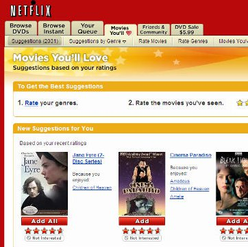 NetFlix - Pagina con film raccomandati