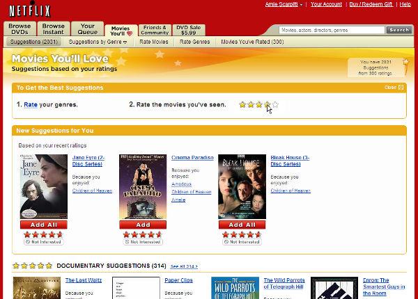 Una schermata di esempio dei film raccomandati da Netflix