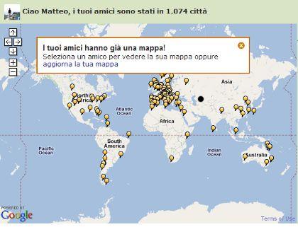 La mappa con i luoghi visitati nella home page di Tripadvisor
