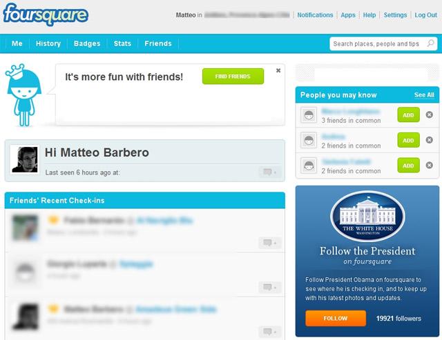 Foursquare : versione desktop