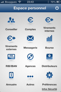 An example of overcrowded screen: a banking App screen with 12 icons on the dashboard