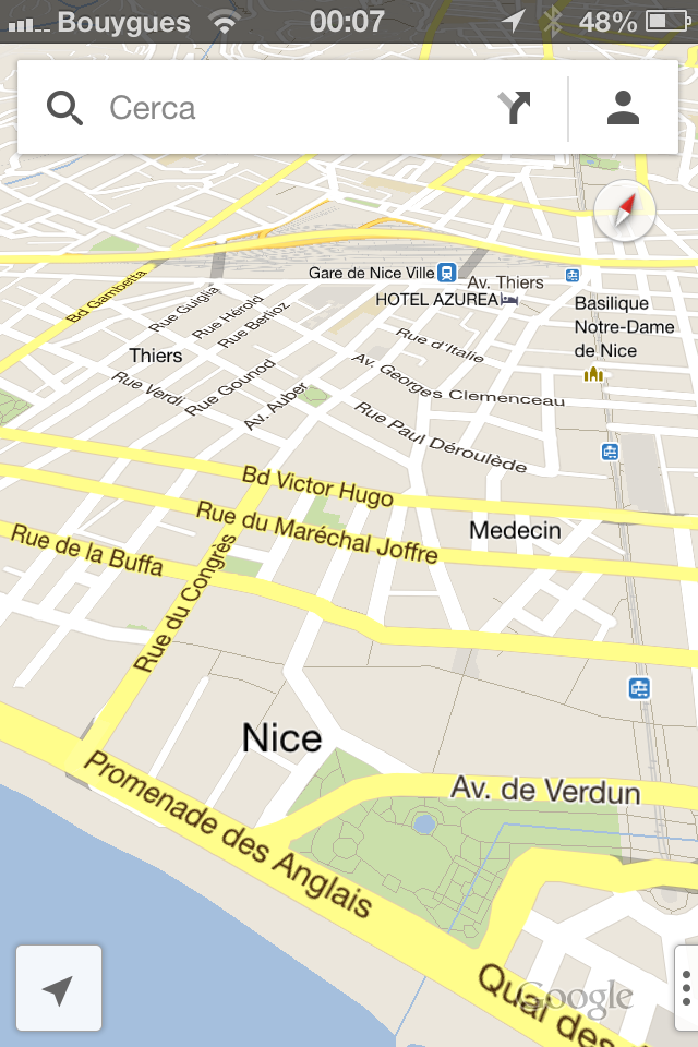 iOS Google Maps application combines  subtle realistic elements (shadows, embossed icons) with a minimal, flat interface