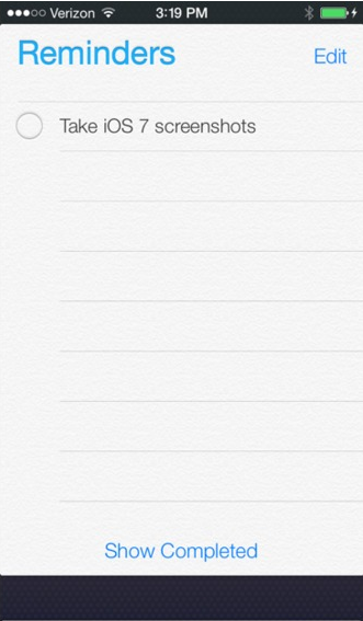 Reminders app on iOS7