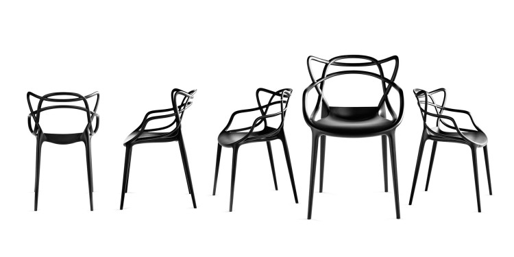 series of 5 Masters chais designed by Philippe Starck for Kartell - black colour